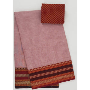 Light rose and Maroon Color Kanchi cotton saree with thread border - Vinshika