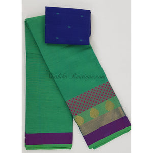 Kanchi cotton saree with zari and thread border