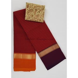 Kanchi cotton saree with zari border and all-over checks
