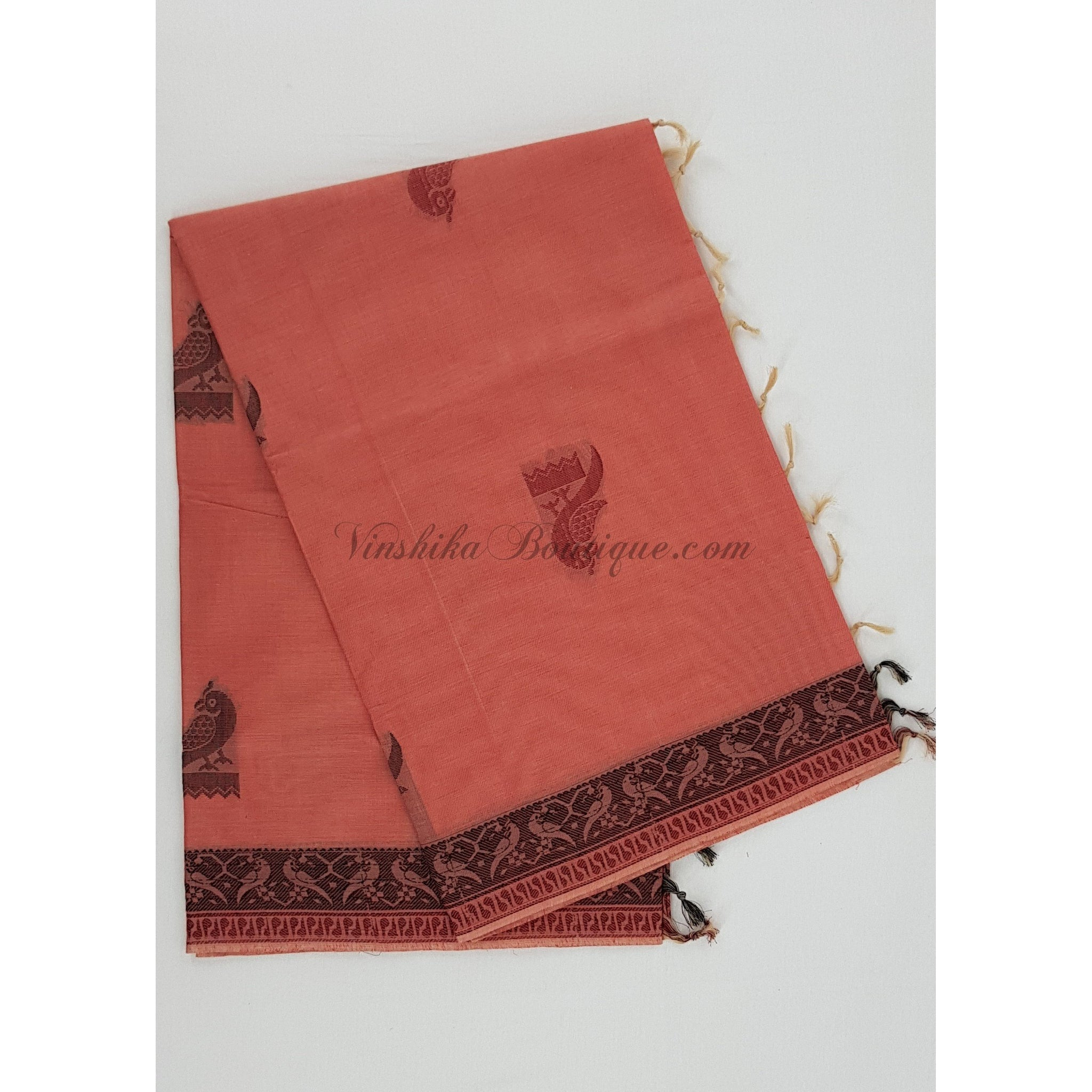 Kanchi cotton saree with rich pallu - Vinshika