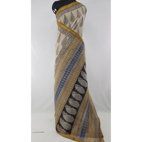 Cream and Black Color Hand Block Printed Kota Cotton Saree with Zari border