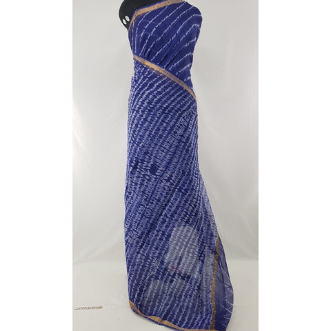 Indigo Blue Color Leheria Kota Cotton Saree with Zari border - Vinshika