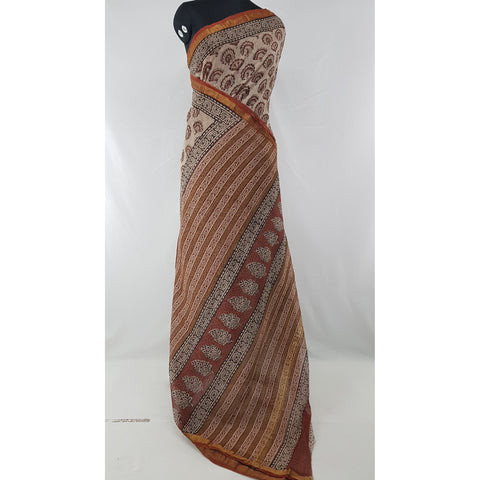 Cream and Maroon Color Hand Block Printed Kota Cotton Saree with Zari border - Vinshika