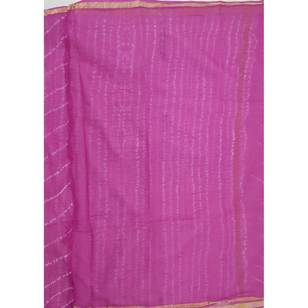 Pink Color Leheria Kota Cotton Saree with Zari border - Vinshika