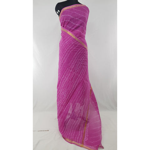 Pink Color Leheria Kota Cotton Saree with Zari border