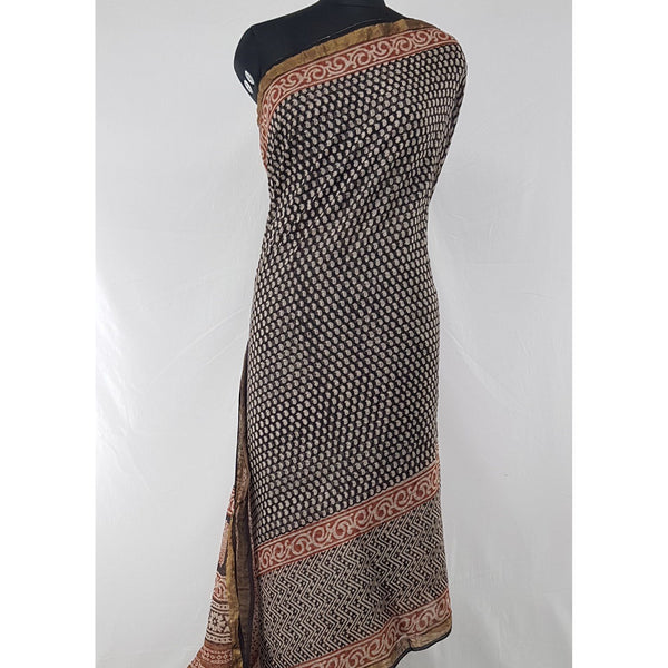 Black and Maroon Color Hand Block Printed Kota Cotton Saree with Zari border - Vinshika
