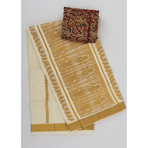Kerala Kasavu Pure Cotton Saree with Zari Border - Vinshika