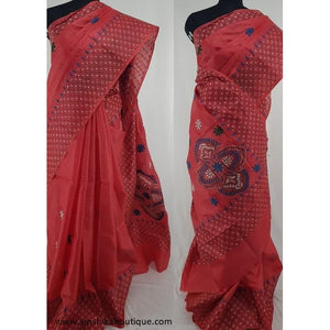 Red color Tussar silk hand embroidered kantha work saree - Vinshika