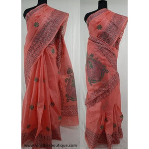 Peach color Tussar silk hand embroidered kantha work saree - Vinshika