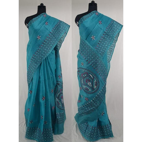 Blue color Tussar silk hand embroidered kantha work saree - Vinshika