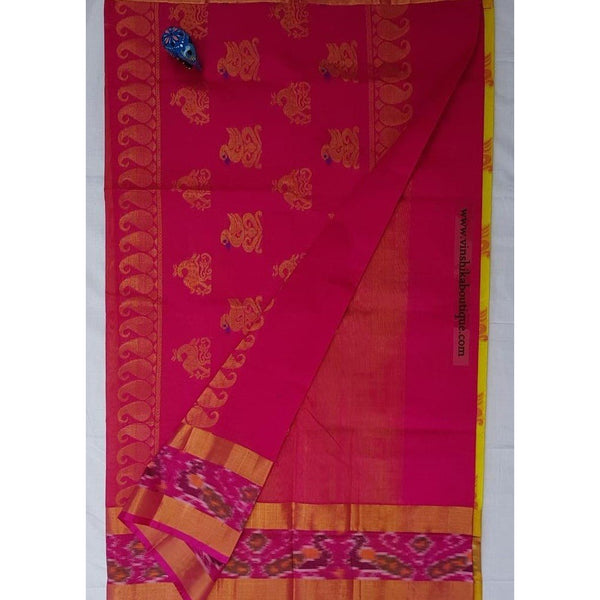 Yellow with Pochampalli border Kuppadam Pattu Saree - Vinshika