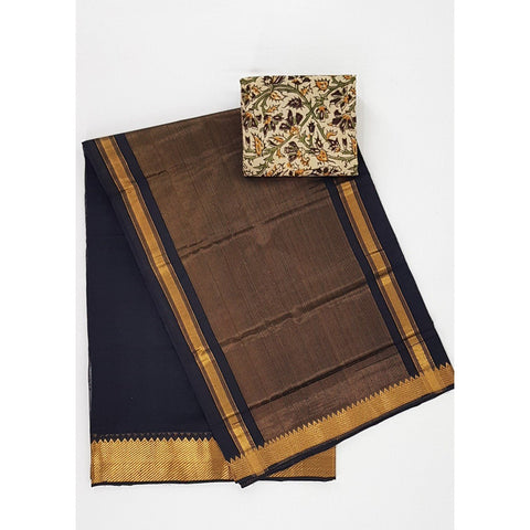 Black Color Mangalagiri cotton saree with golden zari border
