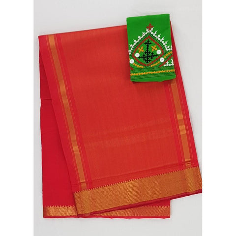 Dark Alphonso color Mangalagiri cotton saree with golden zari border - Vinshika