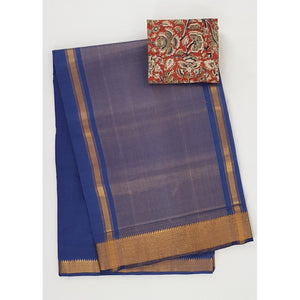 Coral Blue color Mangalagiri cotton saree with golden zari border - Vinshika