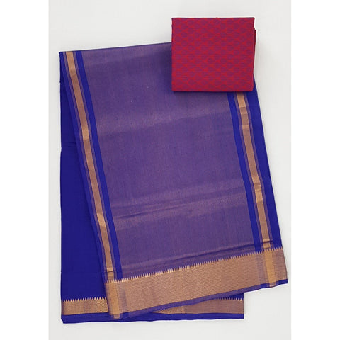 Royal Blue color Mangalagiri cotton saree with golden zari border - Vinshika