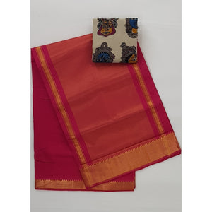 Blossom Color Mangalagiri cotton saree with golden zari border - Vinshika