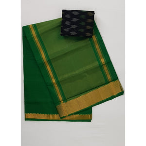 Spring Green Color Mangalagiri cotton saree with golden zari border - Vinshika