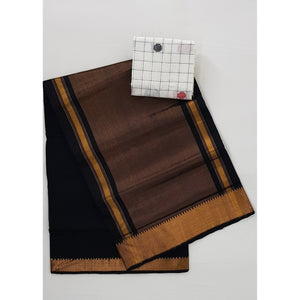 Black Color Mangalagiri cotton saree with golden zari border - Vinshika
