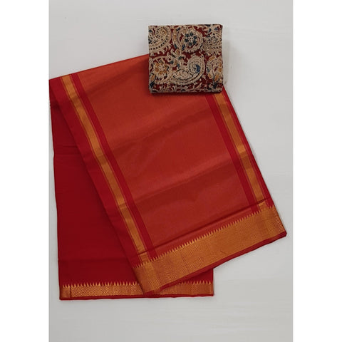 Red Color Mangalagiri cotton saree with golden zari border - Vinshika