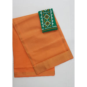 Saffron color Mangalagiri cotton saree with golden zari border