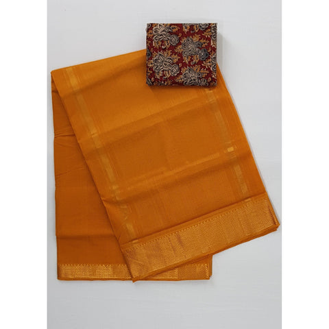 Saffron Color Mangalagiri cotton saree with golden zari border - Vinshika