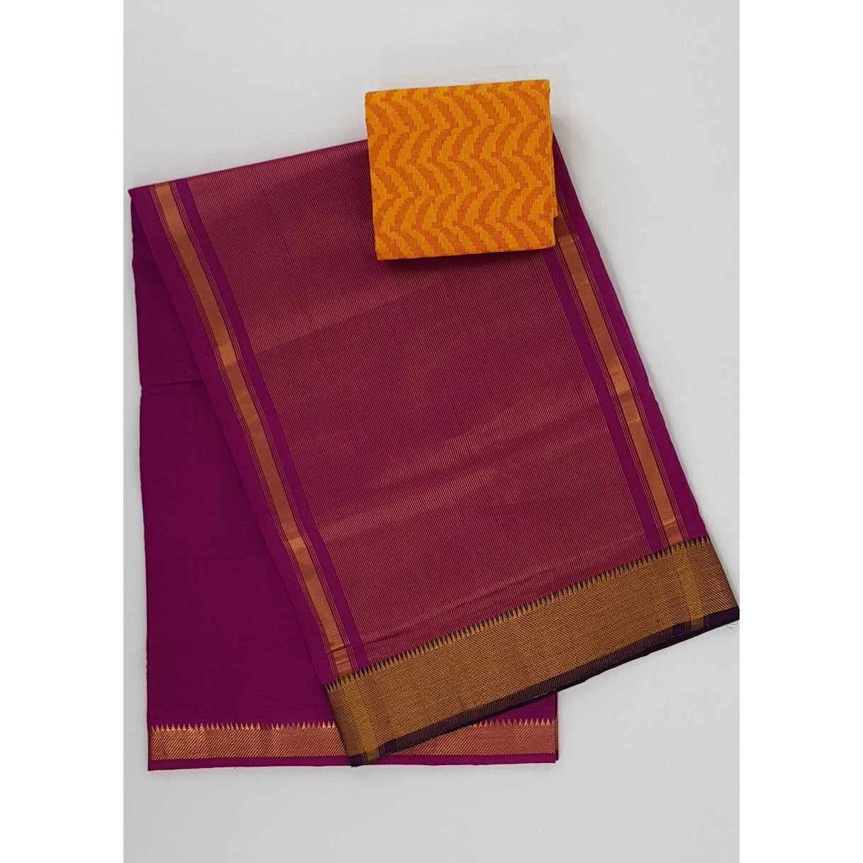 Magenta color Mangalagiri cotton saree with golden zari border - Vinshika