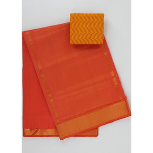 Alphanso color Mangalagiri cotton saree with golden zari border - Vinshika