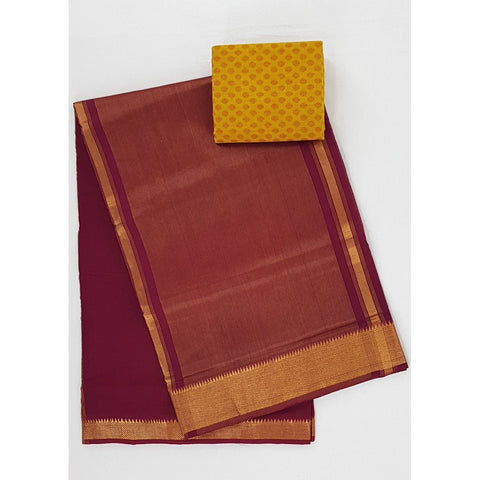Maroon color Mangalagiri cotton saree with golden zari border - Vinshika