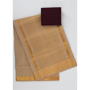 Wheat color Mangalagiri cotton saree with golden zari border - Vinshika