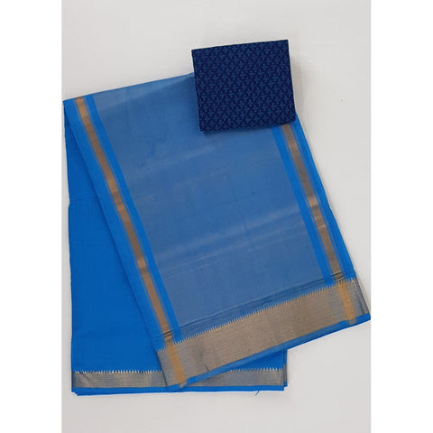 Blue color Mangalagiri cotton saree with golden zari border - Vinshika