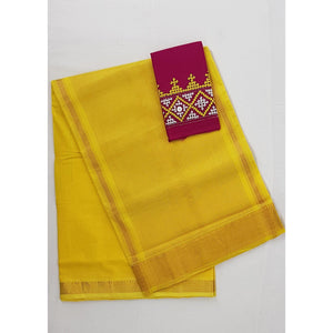 Yellow color Mangalagiri cotton saree with golden zari border