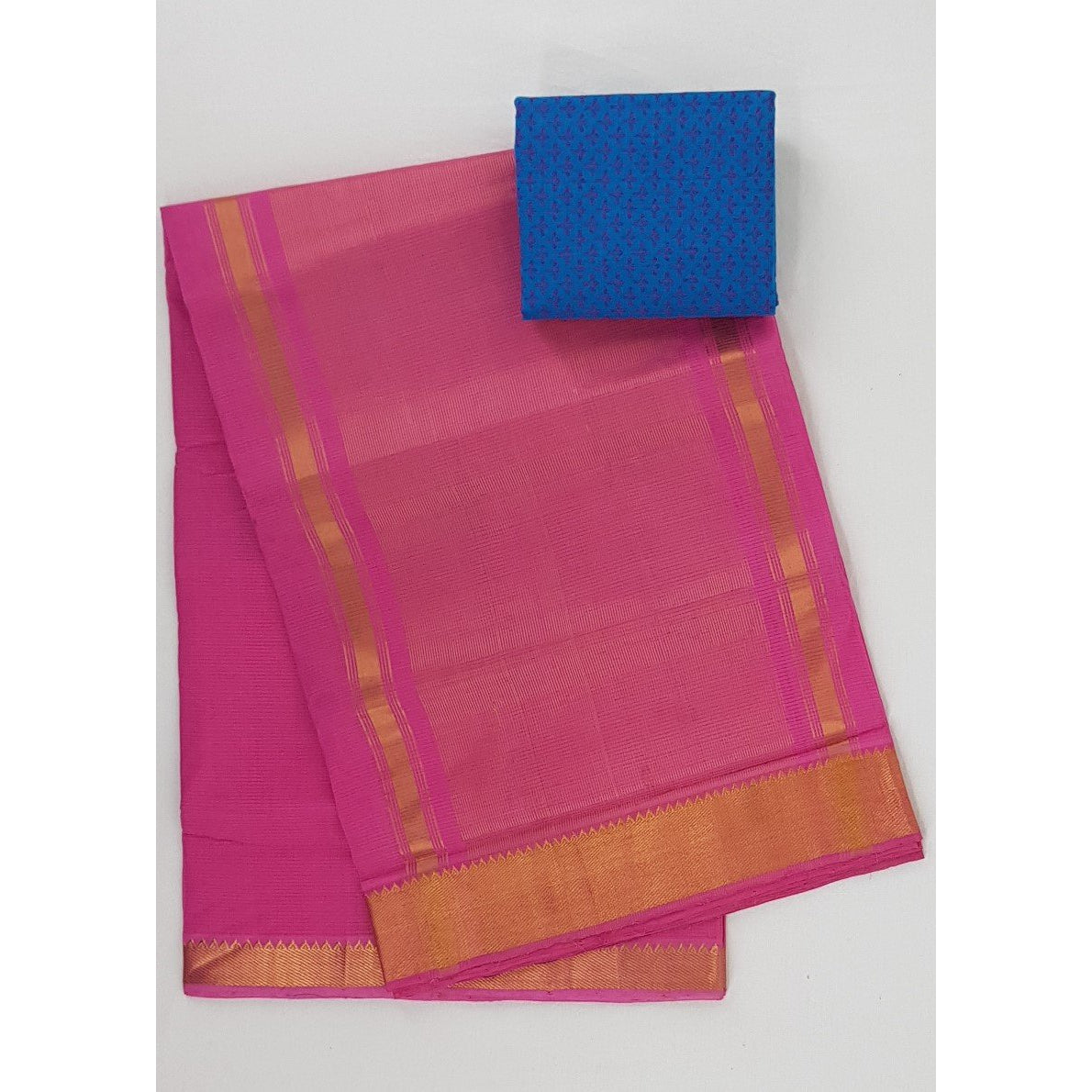 Pink color Mangalagiri cotton saree with golden zari border - Vinshika