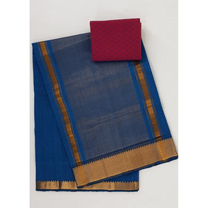 True Blue color Mangalagiri cotton saree with golden zari border - Vinshika