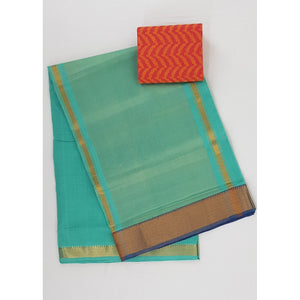 Sky Blue color Mangalagiri cotton saree with golden zari border - Vinshika