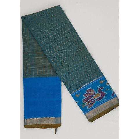 Fern and Blue color Mangalagiri silk saree with silver zari border - Vinshika