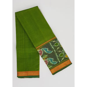Green and Carrot Orange color Mangalagiri silk saree with golden zari border - Vinshika