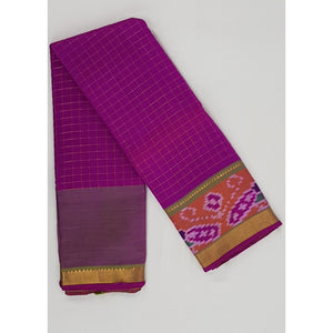 Pink and Parrot Green color Mangalagiri silk saree with golden zari border - Vinshika