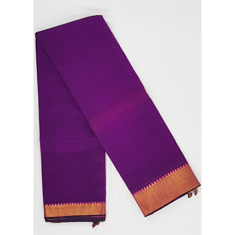 Brinjal color Mangalagiri silk saree with golden zari border - Vinshika