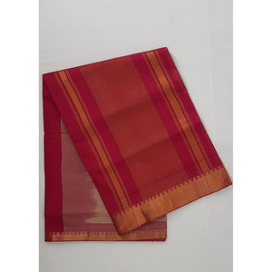 Beige and Maroon color Mangalagiri cotton saree with golden zari border - Vinshika