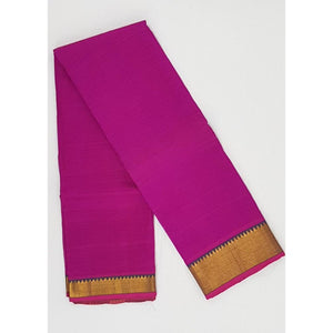 Pink color Mangalagiri silk saree with golden zari border - Vinshika