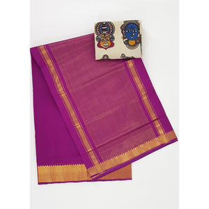 Magenta Color Mangalagiri cotton saree with golden zari border