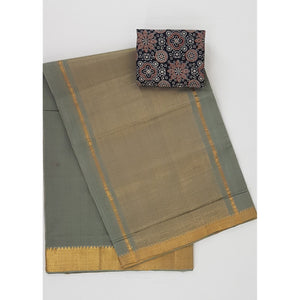 Stone Grey Color Mangalagiri cotton saree with golden zari border