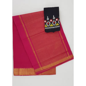 Tomato Red Color Mangalagiri cotton saree with golden zari border - Vinshika