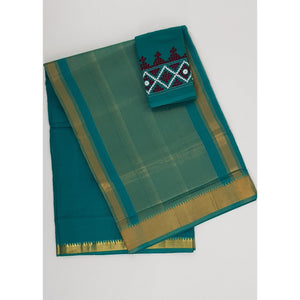 Fern color Mangalagiri cotton saree with golden zari border - Vinshika