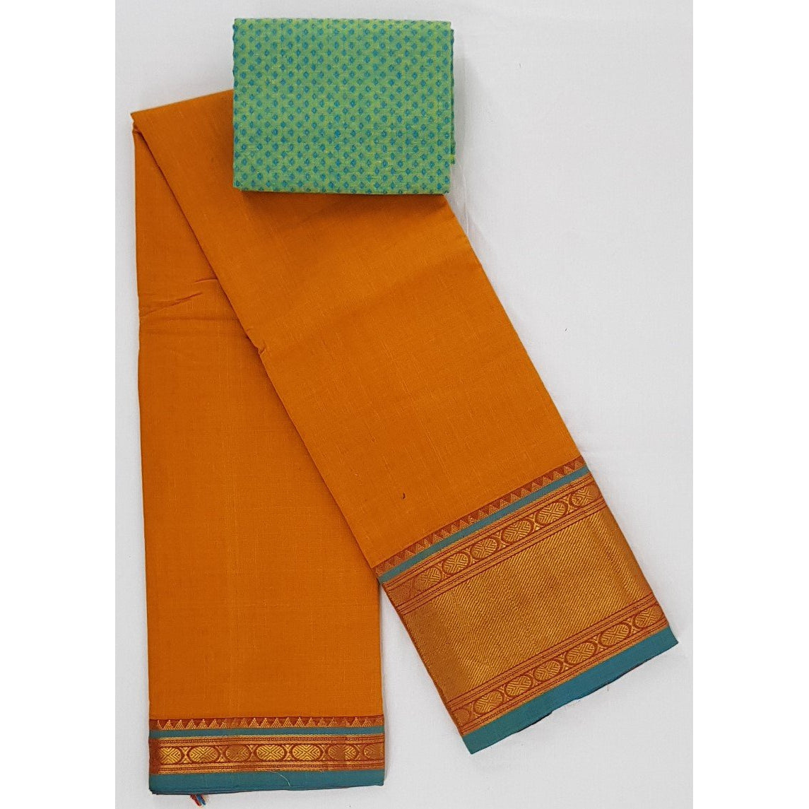 Narayanpet pure cotton zari border saree - Vinshika