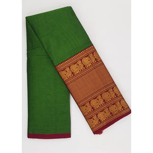 Narayanpet pure cotton large zari border saree - Vinshika