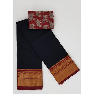 Black Color Narayanpet pure cotton zari border saree - Vinshika