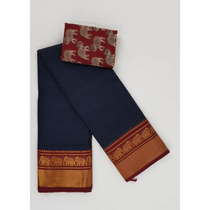 Dark Ash Color Narayanpet pure cotton zari border saree - Vinshika
