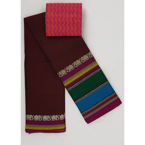 Deep Maroon Color Narayanpet pure cotton large thread border saree - Vinshika