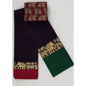 Narayanpet pure cotton elephant zari border saree - Vinshika